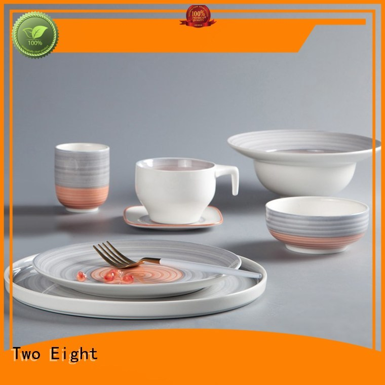 Two Eight white grey porcelain dinnerware directly sale for dinning room