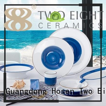 Two Eight colorful hotel dinner plates manufacturer for hotel