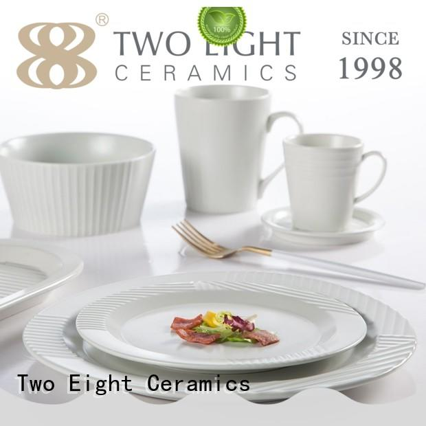 Two Eight colorful restaurant quality plates directly sale for bistro