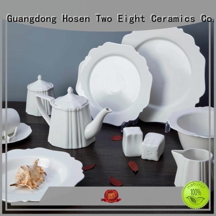 Two Eight square white porcelain square dinner set rim for home