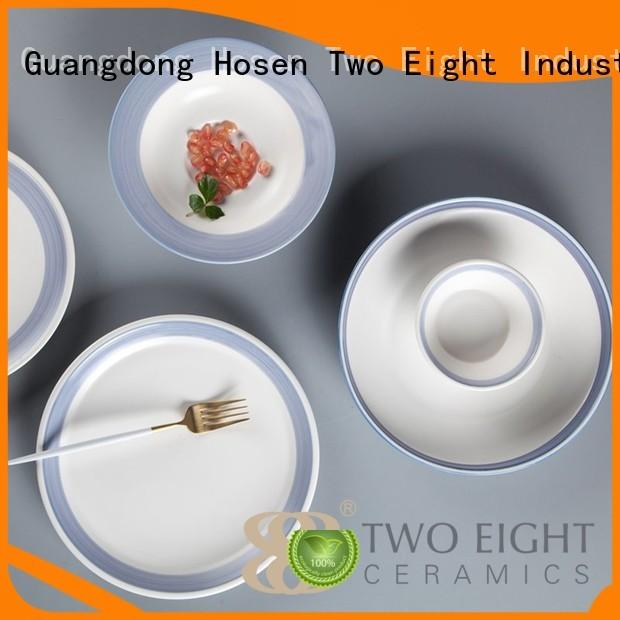 16 piece porcelain dinner set navy cream Two Eight Brand