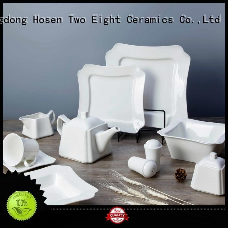 Two Eight smoothly white porcelain dinnerware sets from China for dinner