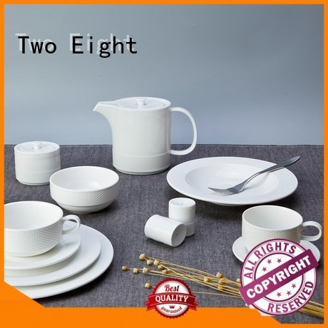 bulk everyday white porcelain dinnerware rim for hotel Two Eight