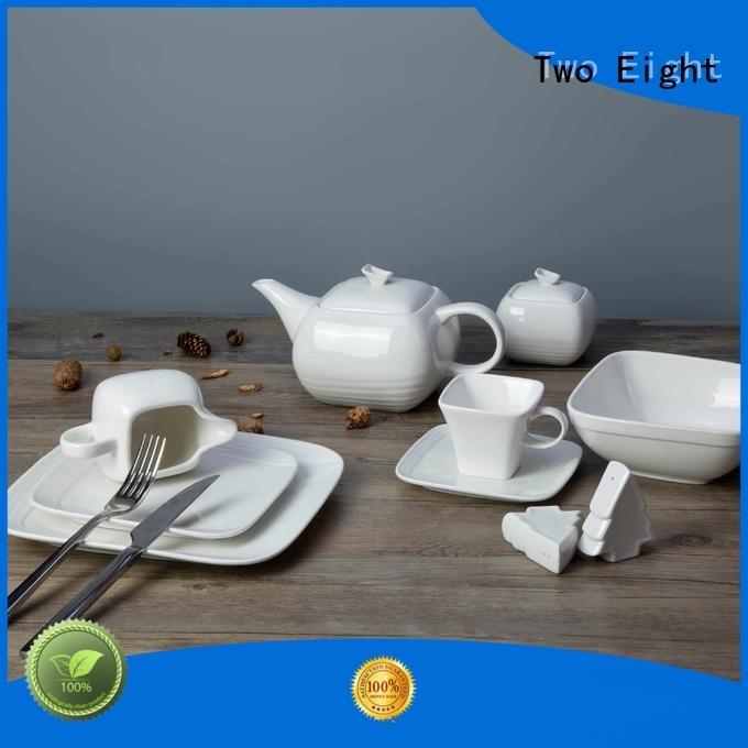 Two Eight glaze white porcelain dish set Italian style for restaurant