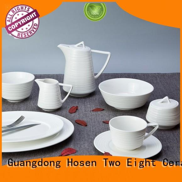 Two Eight casual modern porcelain dinnerware sets bulk for bistro