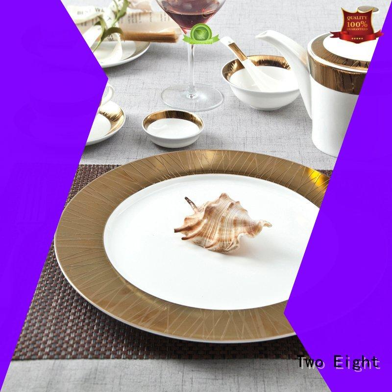 Two Eight embossed restaurant plates wholesale factory price for teahouse