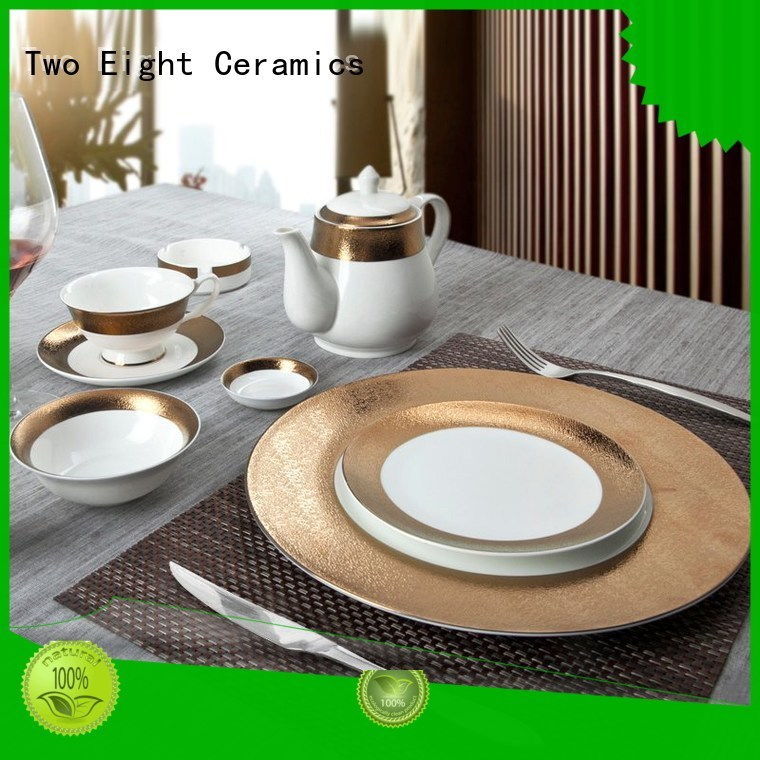 elegant plate hotel two eight ceramics gold Two Eight Brand