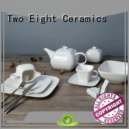 Two Eight rim white porcelain dinnerware restaurant customized for kitchen