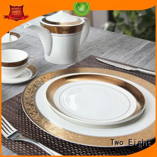 Wholesale plate blue fine china tea sets Two Eight Brand