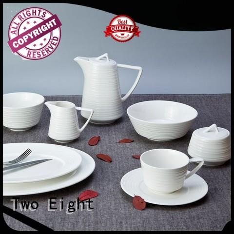 sample white porcelain dinner service Italian style for hotel Two Eight