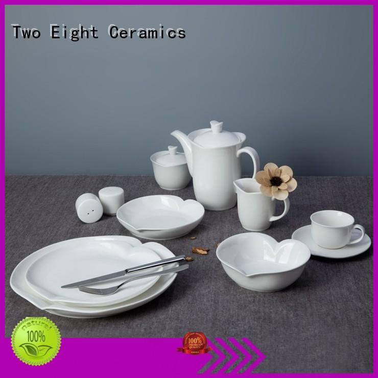Two Eight smooth restaurant porcelain dinnerware directly sale for restaurant