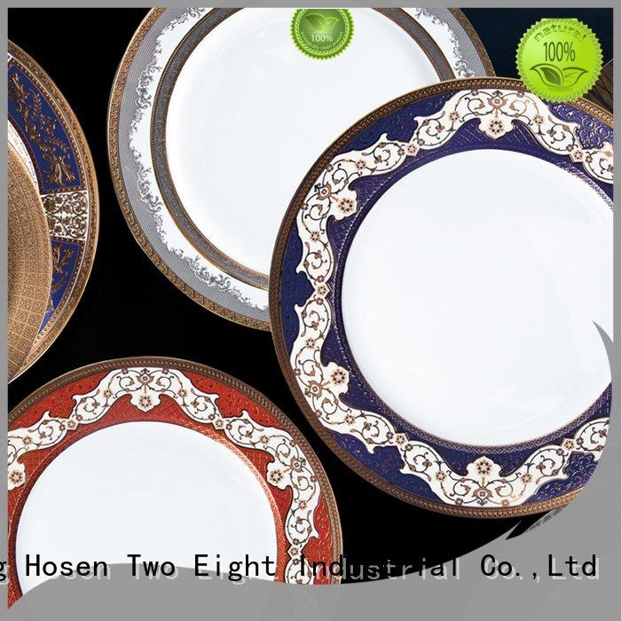Quality fine white porcelain dinnerware Two Eight Brand flat fine china tea sets