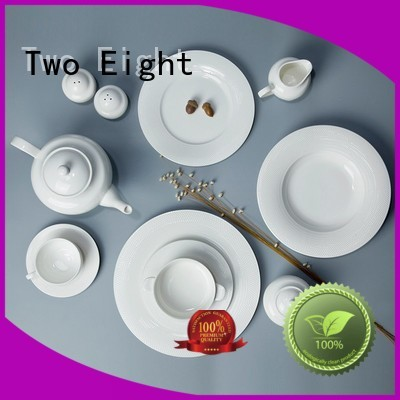 Two Eight smooth white china dinnerware sets Italian style for kitchen