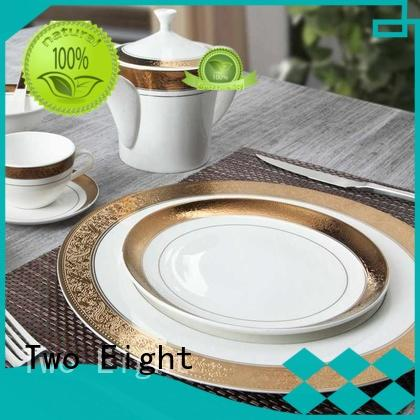 Two Eight durable best white porcelain plates flower for hotel