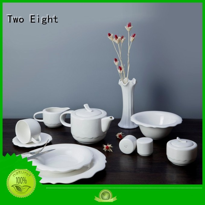 Two Eight sample white dinnerware sets for 8 series for home