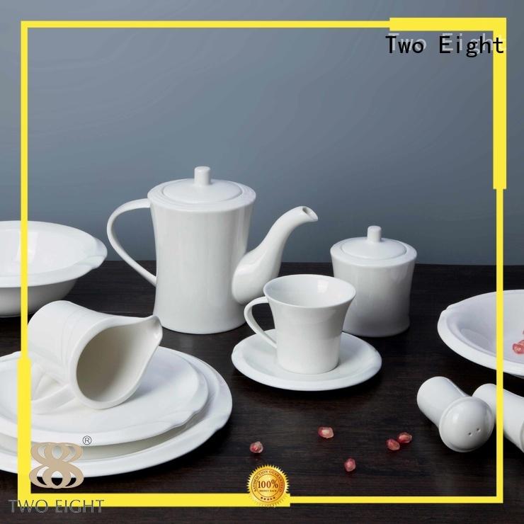 Hot white porcelain tableware embossed Two Eight Brand