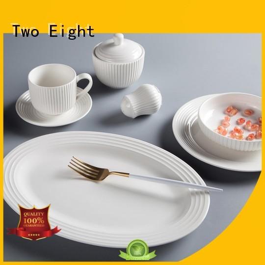 Two Eight rim tabletops avenue porcelain white dinnerware set manufacturer for restaurant