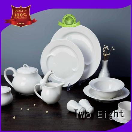 Two Eight simply white porcelain plates directly sale for restaurant