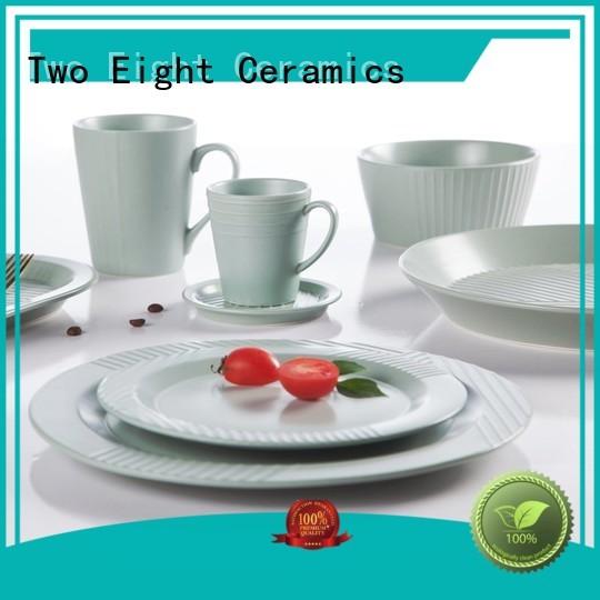 Two Eight vintage porcelain dinnerware fresh for bistro