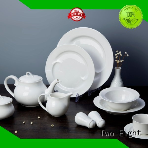 Hot white porcelain tableware dinner square bing Two Eight Brand