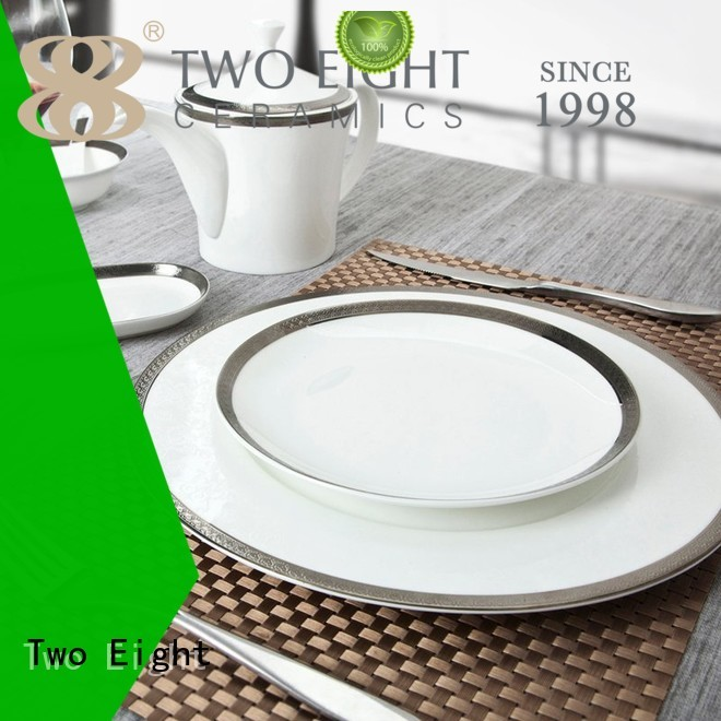silver royal white plate Two Eight Brand two eight ceramics supplier