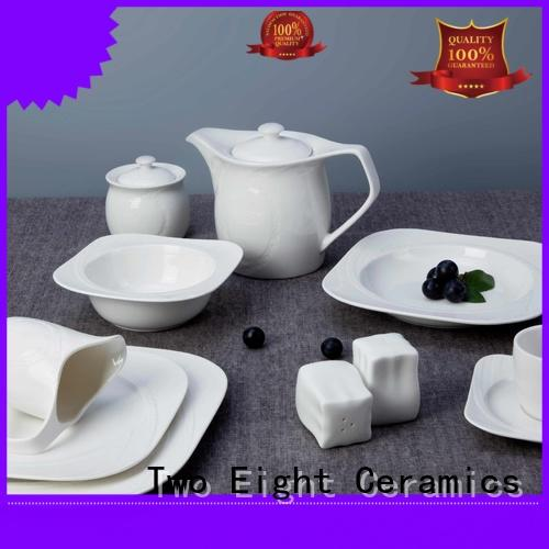 Two Eight french style white dinnerware customized for kitchen