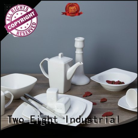 Two Eight Brand royal bing white porcelain tableware embossed wang