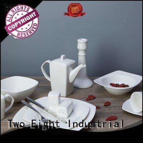 Two Eight Brand royal bing white porcelain tableware embossed wang