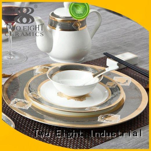 Hot fine white porcelain dinnerware plate mixed dark Two Eight Brand