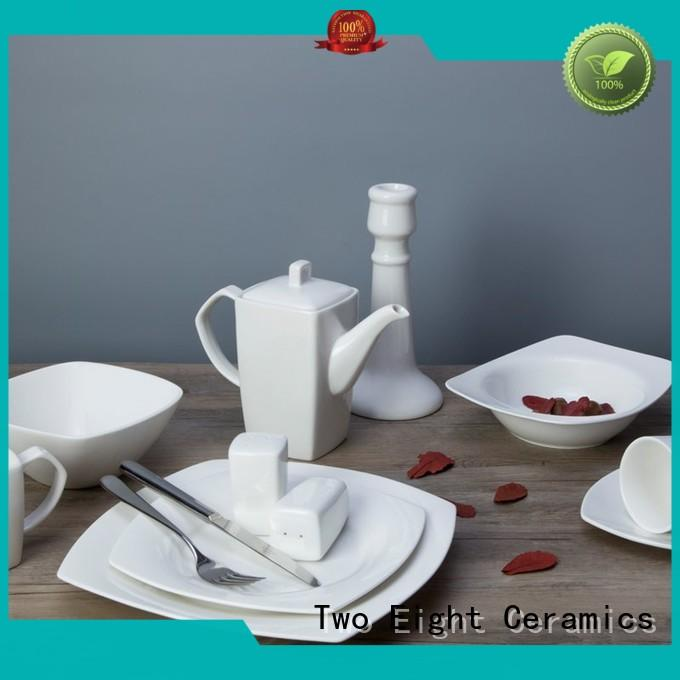 Two Eight square white porcelain dinnerware restaurant series for home