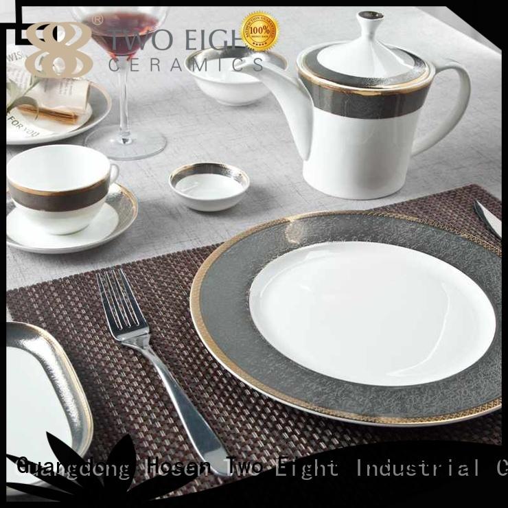 Two Eight Brand dark white custom fine white porcelain dinnerware