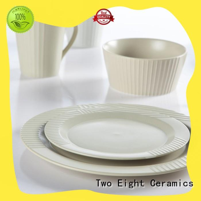 Two Eight square restaurant supply dinnerware sets from China for restaurant