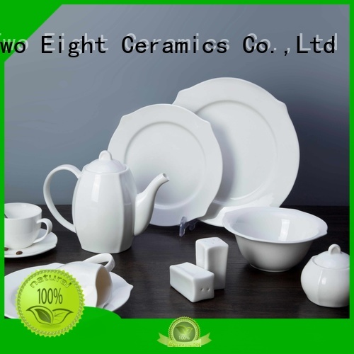 royal white square porcelain dinnerware customized for hotel Two Eight