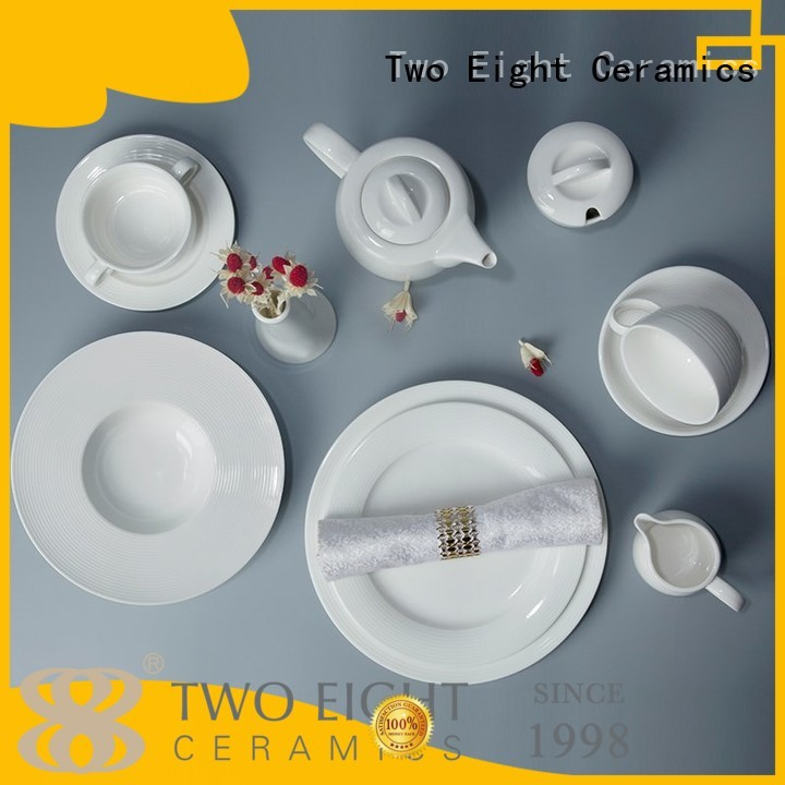 white porcelain tableware embossed home Two Eight Brand company