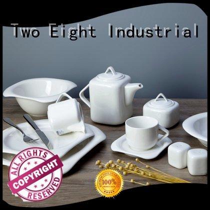 white porcelain tableware irregular white dinner sets Two Eight Brand