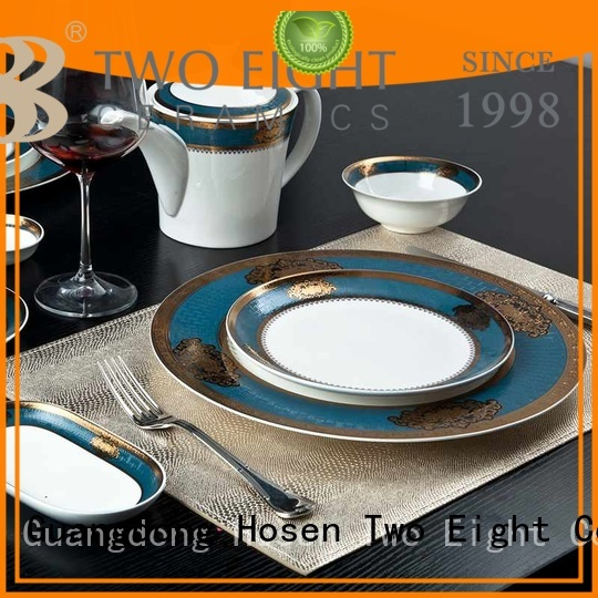 Two Eight golden fine porcelain dishes factory price for teahouse