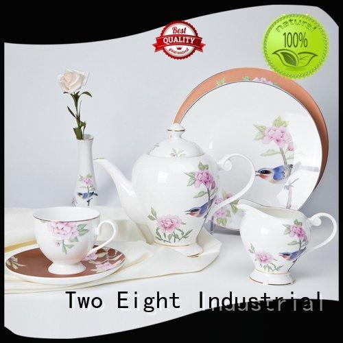 Two Eight fine white porcelain dinnerware white color gold navy