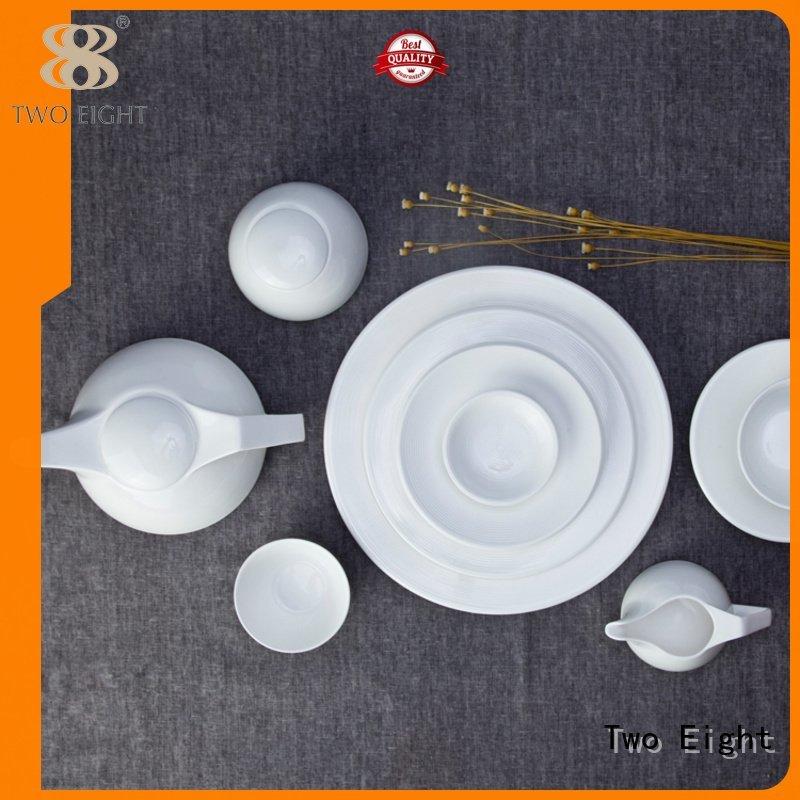 Two Eight porcelain restaurant white dinner sets glaze french