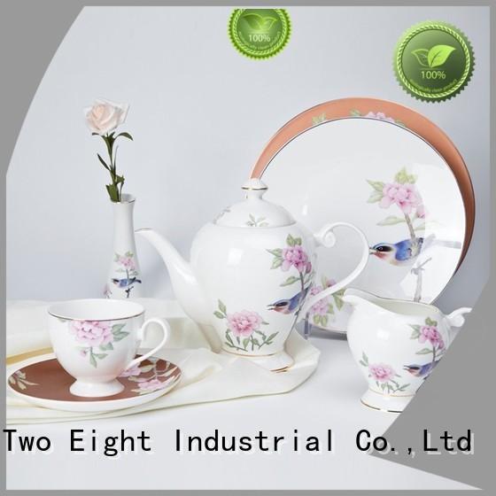 fine white porcelain dinnerware flower mixed two eight ceramics elegant Two Eight Brand