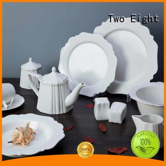 Two Eight royalty cheap white porcelain dinnerware German style for bistro