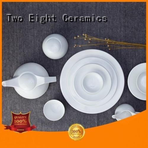 Two Eight elegant white porcelain dishware Vietnamese for hotel