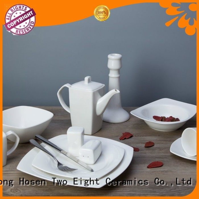 Two Eight sample white dinnerware sets for 12 series for hotel
