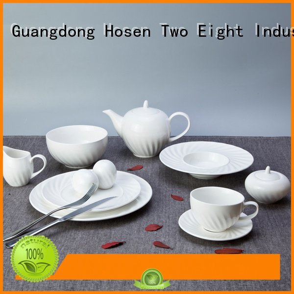white porcelain tableware vietnamese fashion OEM white dinner sets Two Eight