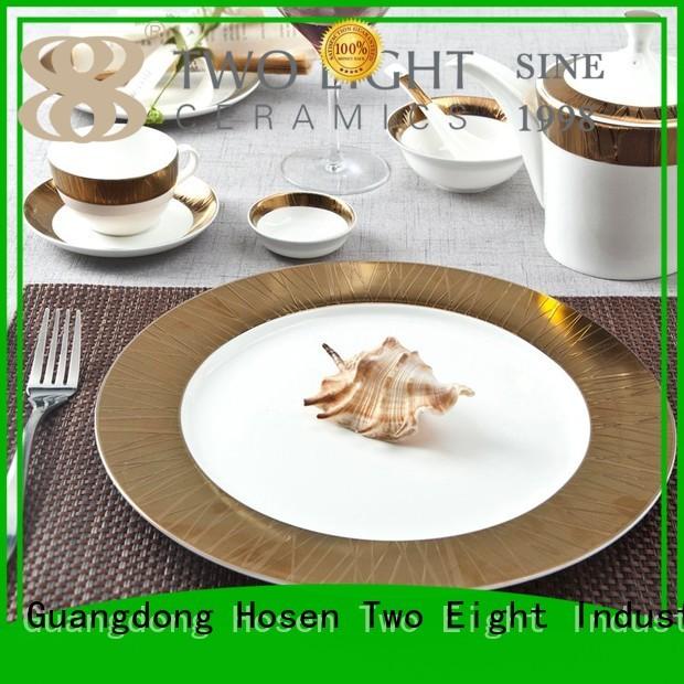 Two Eight Brand golden embossed fine white porcelain dinnerware italian supplier