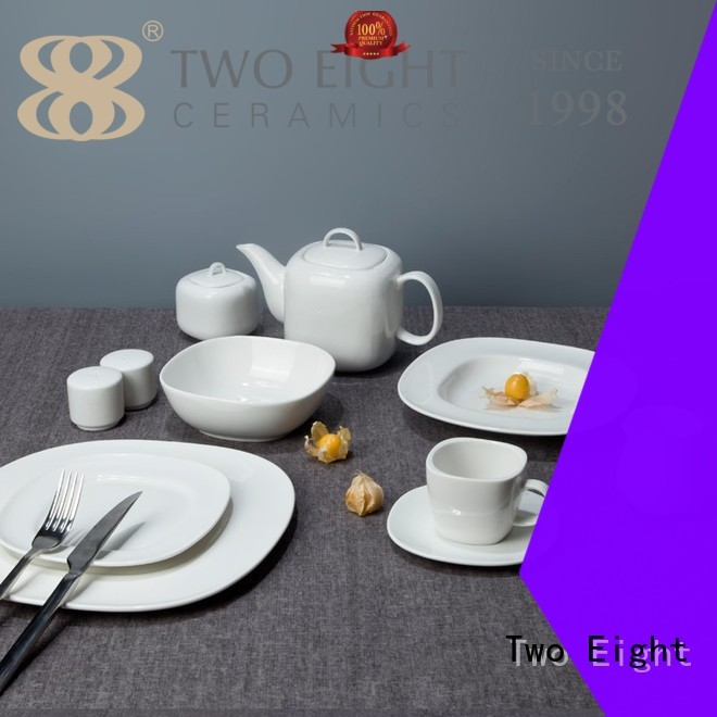 Two Eight rim small white porcelain plates from China for home