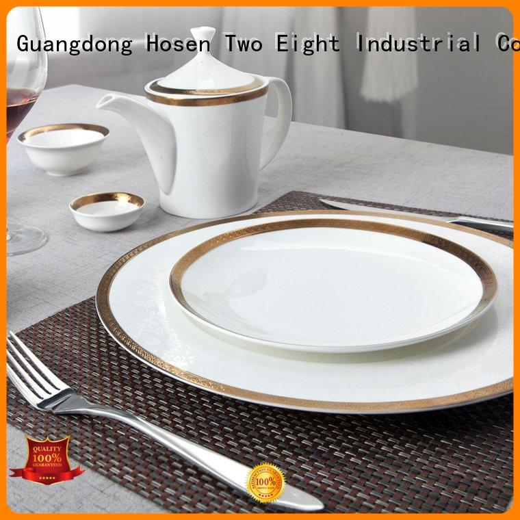 colored decal Two Eight fine white porcelain dinnerware