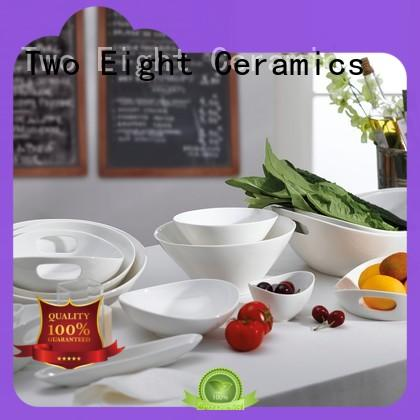 Two Eight contemporary Porcelain Dinnerware Accessories components for hotel