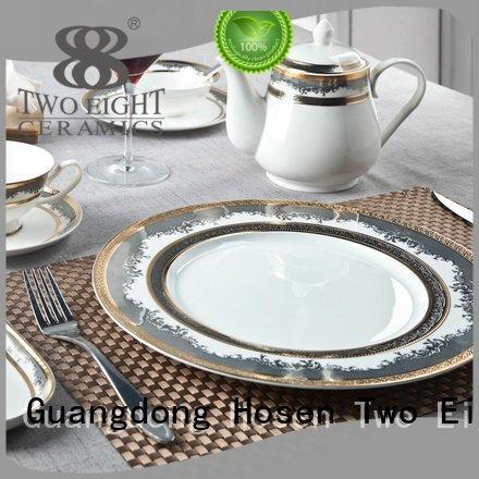 plate men fine white porcelain dinnerware Two Eight