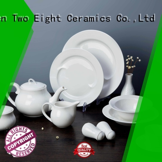 Two Eight Italian style classic white dinnerware sets manufacturer for kitchen