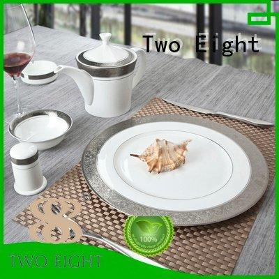 Quality fine white porcelain dinnerware Two Eight Brand gloden fine china tea sets